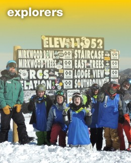 Explorers (Ages 7-16)This is our most popular program! All levels of skiers or snowboarders are welcome.