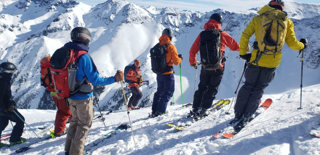 Skiers at Silverton Mountain with the guide