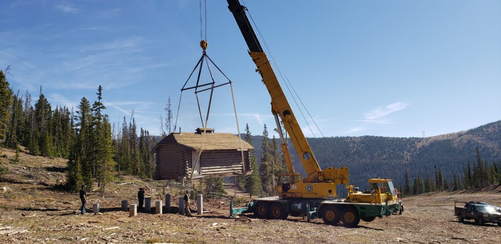 Cabin being lowered